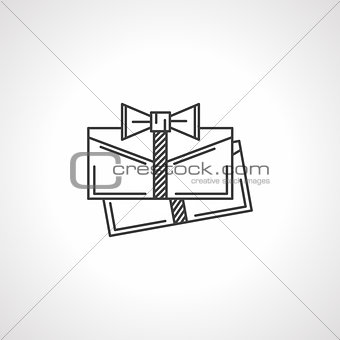 Black line vector icon for gift envelopes
