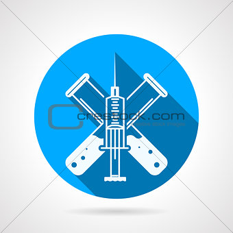 Blue circle vector icon for injection