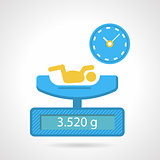 Flat color vector icon for weighing a newborn