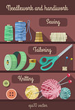 Set of tools and materials for fancywork and needlework