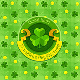 Shamrock symbol for saint patricks day with ribbon