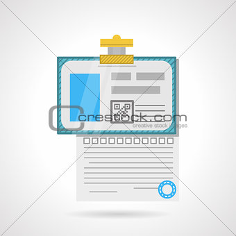 Flat color vector icon for analysis paper