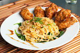 Chicken Wings with Noodles and Spinach