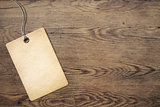 price tag on old wooden table background