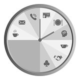 Clock with work time icons grey