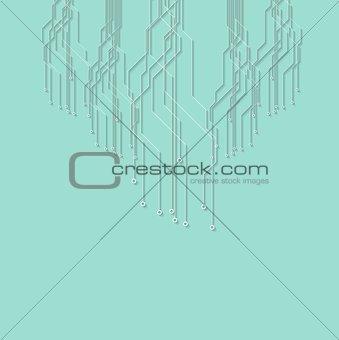 Flat minimal cyan circuit board tech background