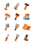 Working tools for construction and maintenance flat icons set