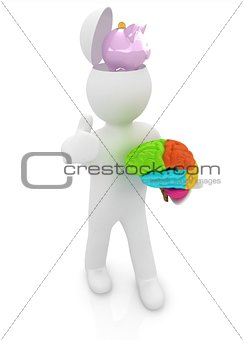 3d people - man with half head, brain and trumb up. Saving conce