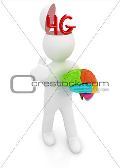 3d people - man with half head, brain and trumb up. 4g modern in