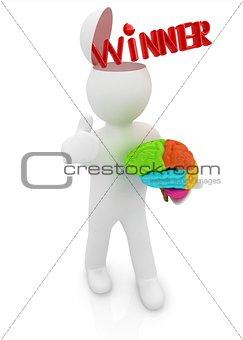 3d people - man with half head, brain and trumb up. Winner