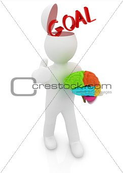 3d people - man with half head, brain and trumb up. Goal concept