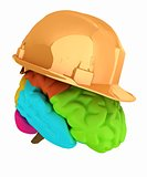 hard hat on brain