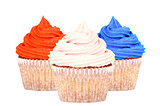 Patriotic red, white and blue cupcakes