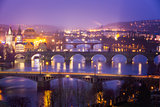 Vltava (Moldau) River at Prague with Charles Bridge at dusk, Cze