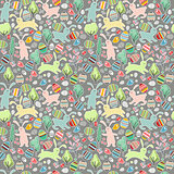 Seamless dark pattern with easter rabbits