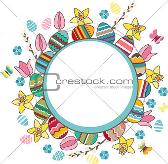 Bright frame with easter eggs and spring flowers