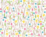 Seamless pattern with white easter rabbits