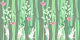 Seamless horizontal pattern with trees and rabbits