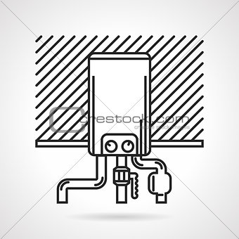 Black line vector icon for heating boiler