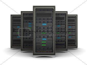 3d illustration of row the server racks