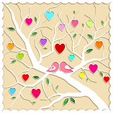 Springtime Love Tree and Birds
