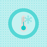 Termometer with snowflake flat icon