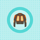Defence jacket for snowboarding flat icon