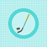 Hockey stick and puck flat icon