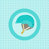 Helmet for snowboarders flat icon