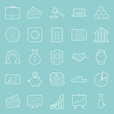 Bisiness and finance thin lines icons set