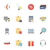 Logistics flat icons set