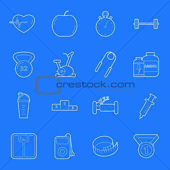 Fitness and gym thin lines icons set