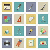 Graphic and design flat icons set with shadows