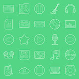 Music and audio thin lines icons set