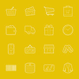 Shopping thin lines icons set