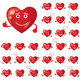 Valentine hearts, smileys, set