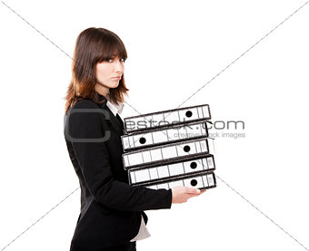 Tired business woman holding folders