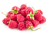 Fresh berry raspberries with green leaves