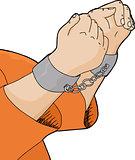 Cuffed Hands and Orange Shirt