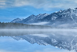 Karwendel mountains reflected in Barmsee lake