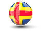 Round icon of flag of aland islands