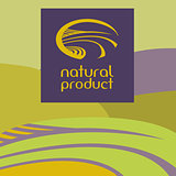 Vector logo depicting the landscape, field, road. Green and purple background.Natural product