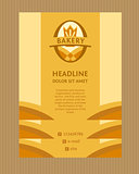 Brochure Flyer design vector template in A4 size. Vector logo for a bakery, macaroni factory. Image field and ears, the crown