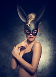 girl with bizarre bunny mask