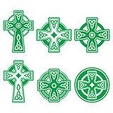 Irish, Scottish Celtic green cross on white vector sign
