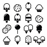 Food, desserts icons - cupcake, ice-cream, cookie, lollipop