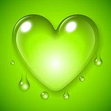 Green Waterdrop Heart