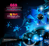 Disco Night Club Flyer layout with  music themed elements