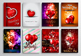 Set of Valentines Flyer Design, Invitation Cards Templates
