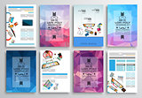 Set of Flyer Design, Web Templates. Brochure Designs, Technology Backgrounds.